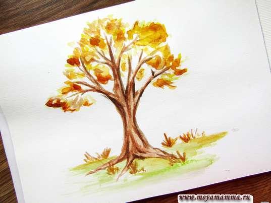 Осеннее дерево акварелью