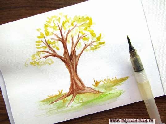 Осеннее дерево акварелью. Рисование листвы дерева