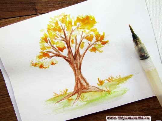 Осеннее дерево акварелью. Рисование оранжевой акварелью