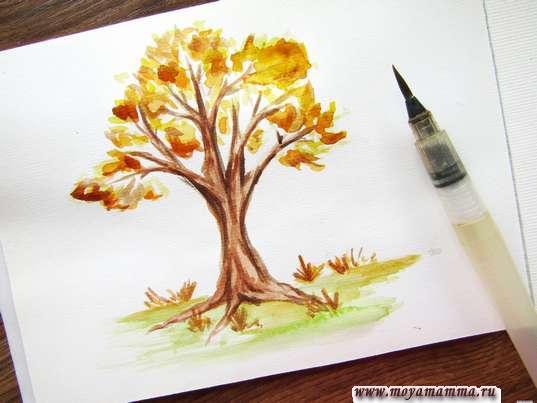 Осеннее дерево акварелью. Рисование коричневой акварелью