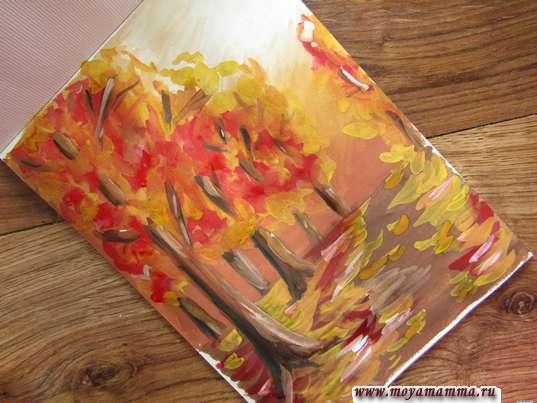 Осенний лес гуашью для детей