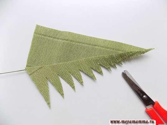 Вырезание листочков с одной стороны заготовки