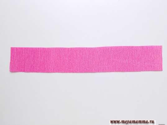Полоска из розовой гофрированной бумаги 24х4 см
