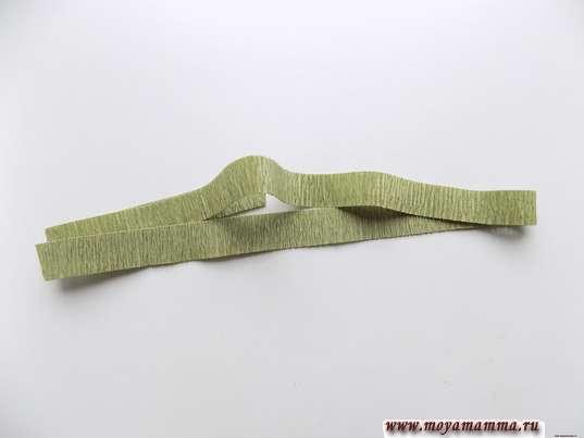 Тонкая полоска зеленой гофрированной бумаги