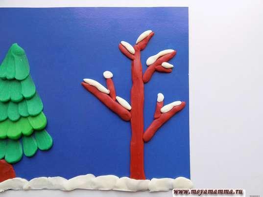 Поделка из пластилина Зима. Изготовление снега на дереве