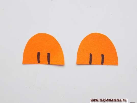 Простая птичка из бумаги. Лапки из оранжевой бумаги