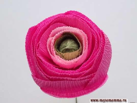 Ранункулюс из гофрированной бумаги. Формирование цветка