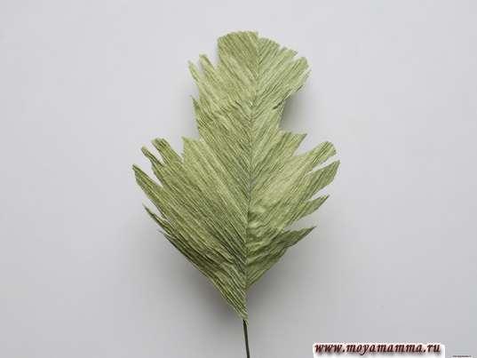 Ранункулюс из гофрированной бумаги. Готовый лист для цветка