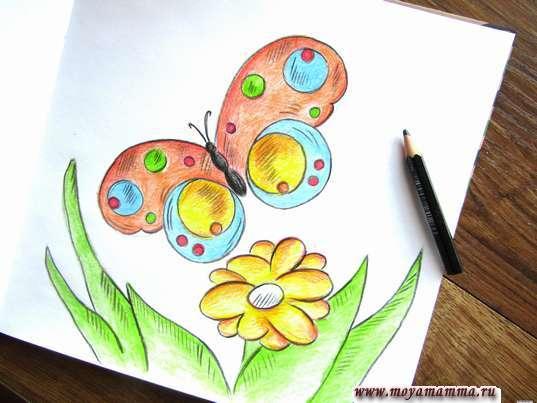 Рисунок бабочка на лугу. Контур и штриховка черным цветом