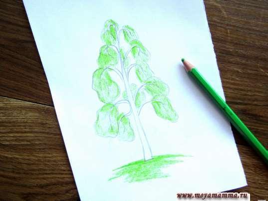 закрашивание основания дерева и участков листвы