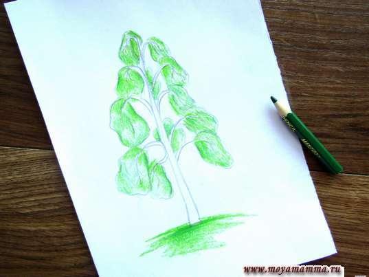 Прорабатываем закрашенные фрагменты более насыщенным зеленым цветом карандаша