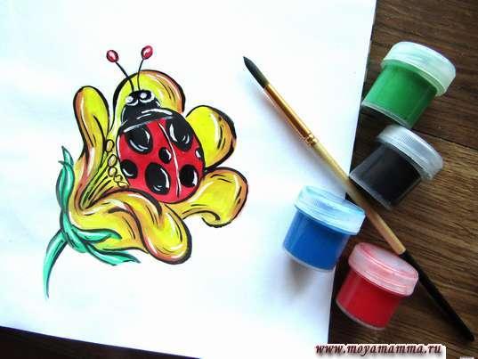 рисунок для детей божья коровка