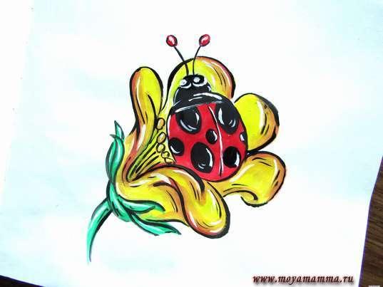 """рисунок для детей """"Божья коровка на цветке"""""""