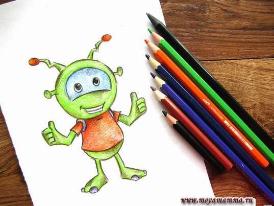 рисунок для детей инопланетянин карандашами