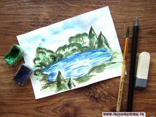 Рисунок для детей озеро акварелью