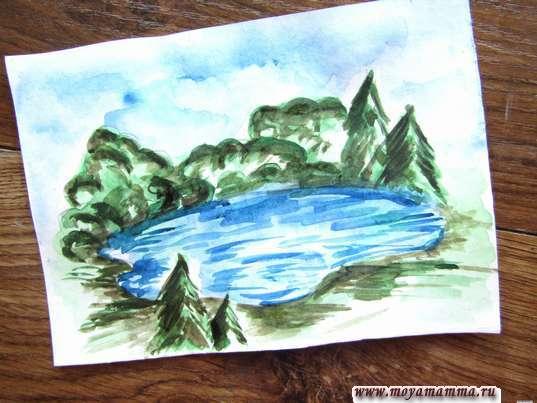 Рисунок для детей озеро