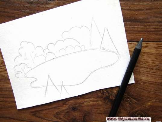 Рисунок Озеро в лесу простым карандашом