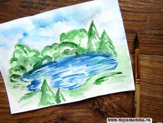 Насыщенным зеленым цветом вырисовываем деревья и лужайку.