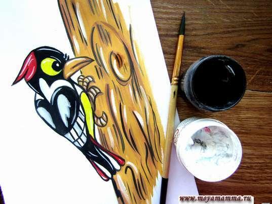 Черная и белая гуашь для проработки рисунка