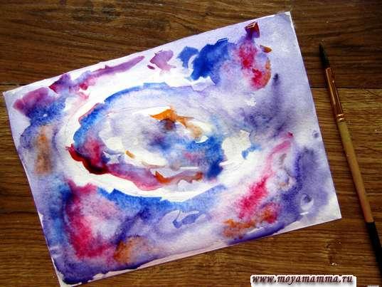 Добавление синего и карминового оттенка акварельных красок