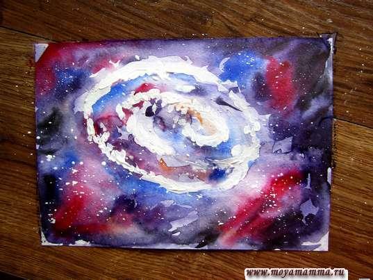 Рисунок галактики красками