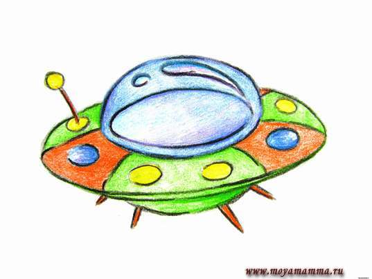рисунок карандашами летающая тарелка