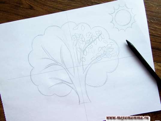 Рисование листиков и цветочков