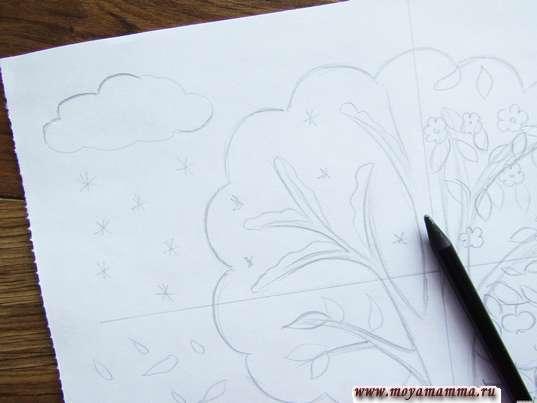 Рисунок карандашом Времена года. Набросок зимы