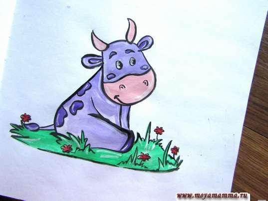 Рисунок коровы на лугу гуашью