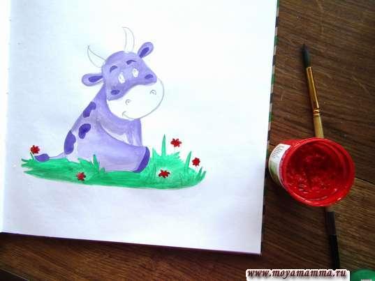 Красной гуашью рисуем цветочки