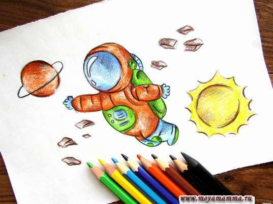рисунок космонавт в открытом космосе