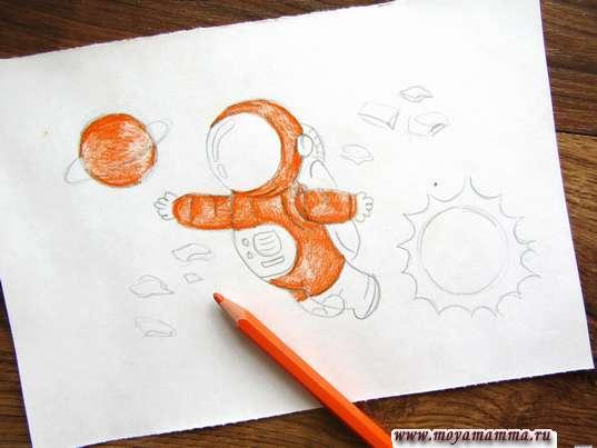 Использование оранжевого карандаша для скафандра и планеты