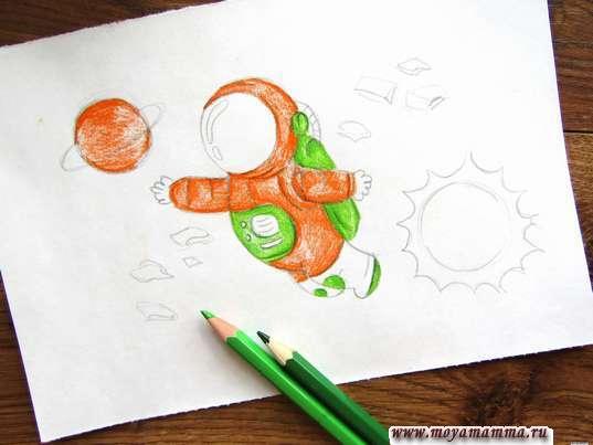 Рисование зеленым карандашом