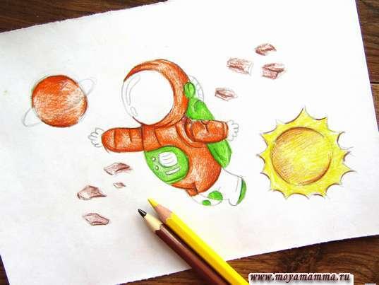Солнышко желтым карандашом