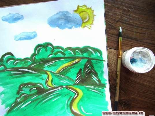 Рисунок летний пейзаж. Блики на рисунке белой гуашью