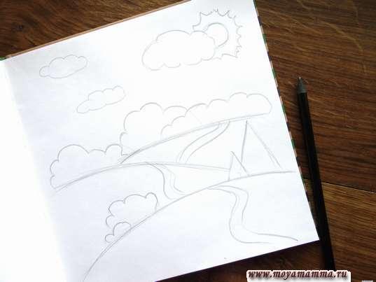 солнышко с лучиками и два пушистых облака