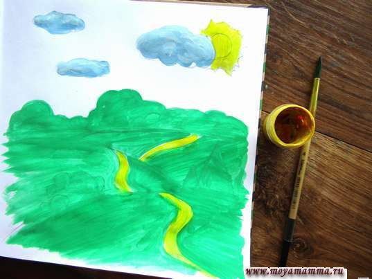 солнышко и тропинки на холмах желтой гуашью