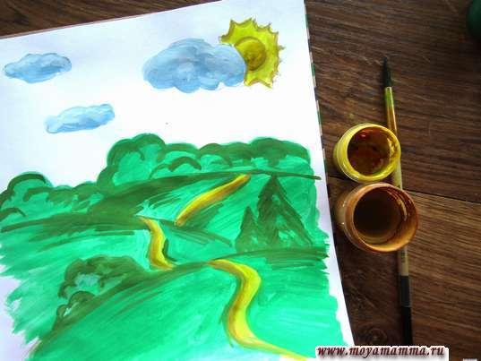 Дорабатывание тропинок и солнышка, кустов