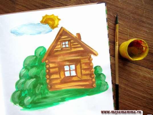 Рисунок лето в деревне. Солнышко желтыми и коричневыми тонами