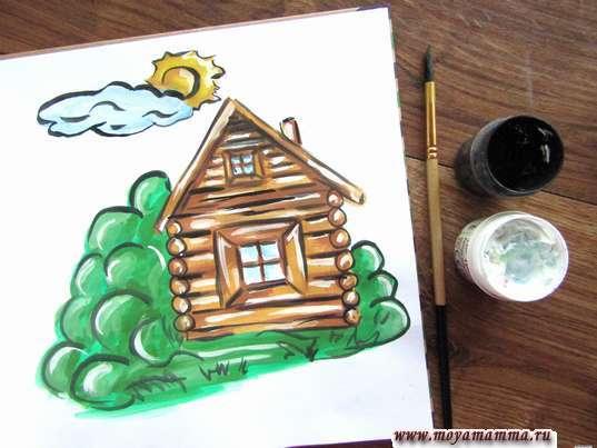 Рисунок лето в деревне. Контур всего рисунка черной гуашью и блики белой гуашью