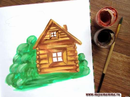 Рисунок лето в деревне. Прорабатывание домика насыщенными коричневыми тонами