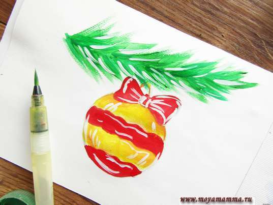 Рисунок новогодняя игрушка. Рисование бликов