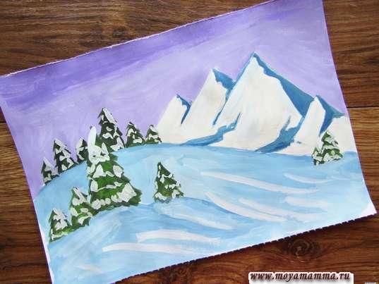 рисунок природа зимой