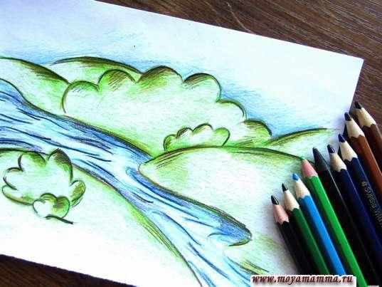 Рисунок реки карандашами