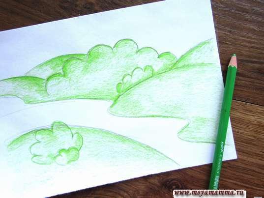 берега и деревья с кустарниками светло-зеленым карандашом