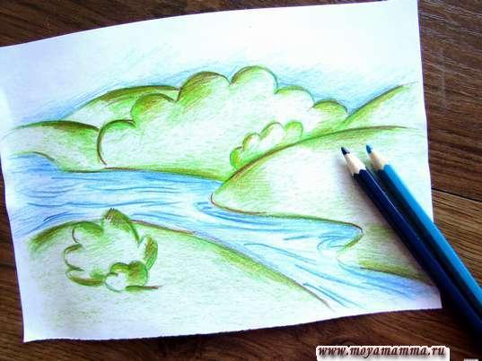 Раскрашивание реки и неба