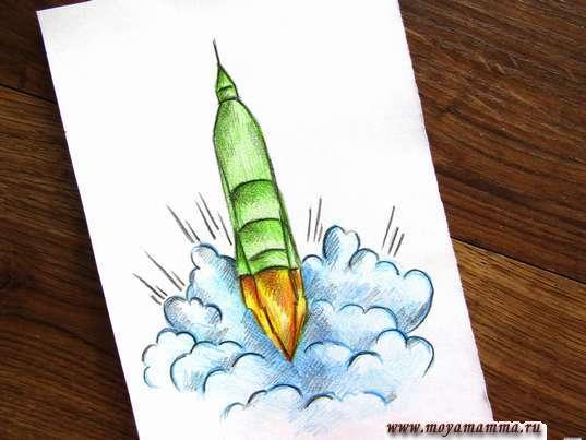 Рисунок взлетающей ракеты