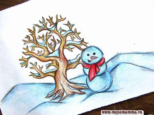 Рисунок Зима карандашами