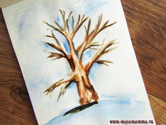 рисунок Зимнее дерево