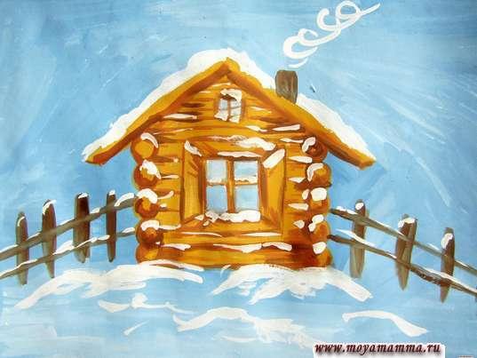 Рисунок зимнего домика